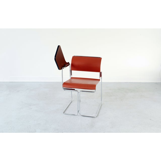 Harter Vintage Orange Vinyl & Chrome Tablet Chair - Image 6 of 6