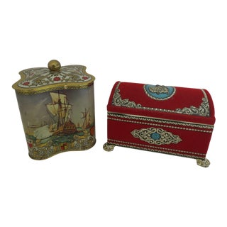 Treasure Biscuit Tins - a Pair