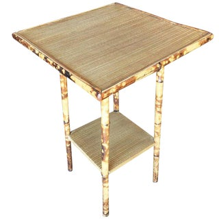 Tiger Bamboo Pedestal Side Table with Straight Legs