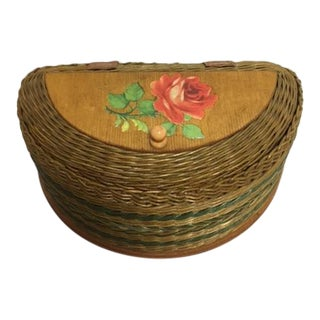 Vintage De Coupage Satin Lined Wicker Basket