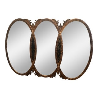 Gilt Triple Oval Interlocking Mid-Century Mirror