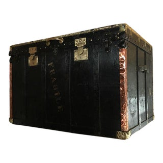 Victorian Wood & Metal Black Trunk