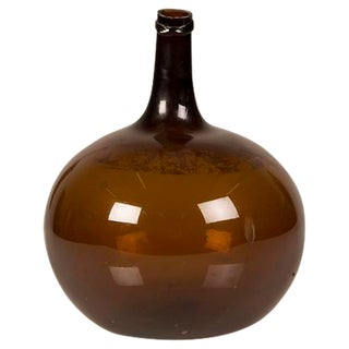 Handsome Dark Amber Hand-Blown Glass Bottle from France c. 1875