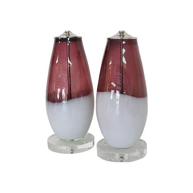 Image of Amethyst & White Italian Lamps - A Pair