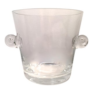 Tiffany & Co. Crystal Scroll Handle Wine/Ice Bucket-Signed