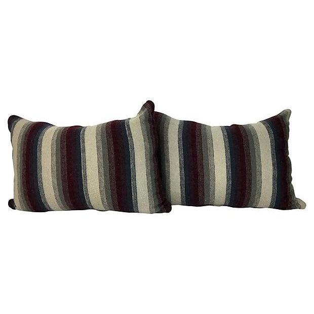 Repurposed Wool Blanket Lumbar Pillows - A Pair - Image 4 of 6