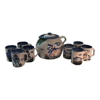 M.A. Hadley Pottery Mugs & Pitcher - Set of 7