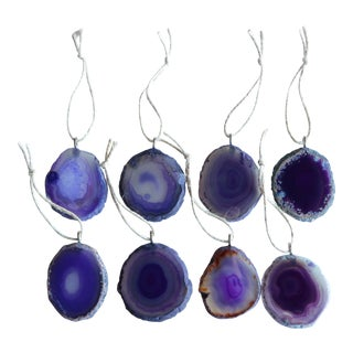Agate Slice Christmas Ornaments - Set of 8