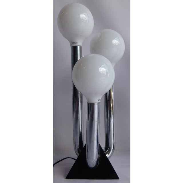 Mid-Century Modern Chrome 70's Lamps- A Pair - Image 3 of 8