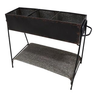Industrial Galvanized Black Planter