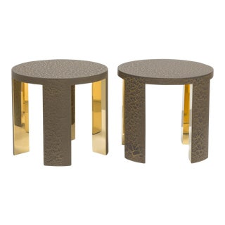 The Circular Crackle Side Tables by Talisman Bespoke (Bronze and Gold)