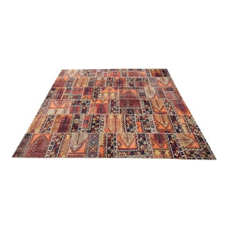 Vintage Turkish Tribal Patchwork Oushak Konya Rug - 11′8″ × 13′9″