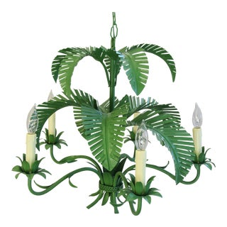 Vintage Five-Arm/Light Italian Palm Leaf Tropical Tole Chandelier