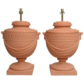 Pair of Large-Scaled Neoclassical Style Terra Cotta, Urn-Shaped Table Lamps