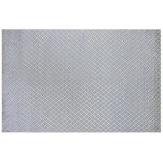 Silver and Grey Wool and Silk Trellis Rug - 6' X 9'