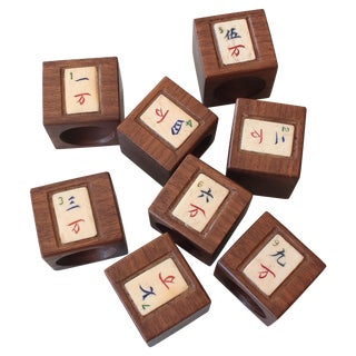 Vintage Rosewood Mahjong Napkin Rings - Set of 8