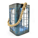 Image of Rustic Tin Glass Candle Lantern With Rope Handle