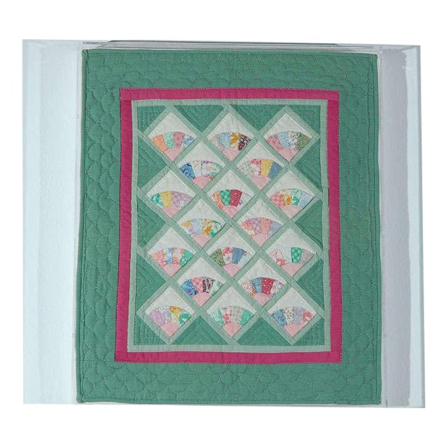 Miniature 1940s Pastel Fans Mounted Doll Quilt - Image 1 of 8