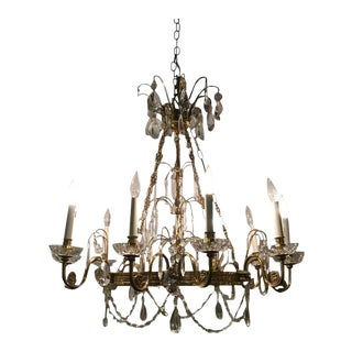 Neoclassical Style Hollywood Regency Crystal and Brass Chandelier