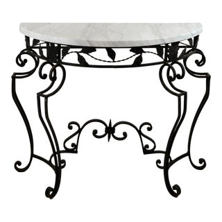 Black & Marble Demilune Console Table