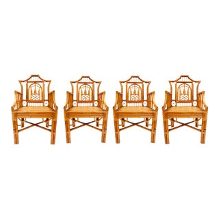 Vintage Chinese Chippendale Bamboo Armchairs - Set of 4