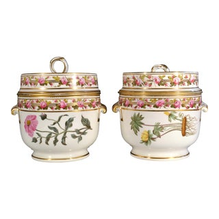 Antique Derby Porcelain Fruit or Ice Coolers, Covers & Liners, Pattern 142, Circa 1784-1800..