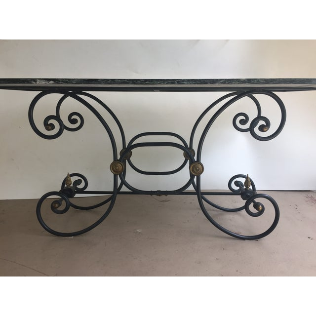 French Iron Marble Topped Table - Image 4 of 9
