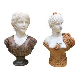 Solid Marble Classical Sculptures - A Pair
