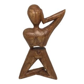 Modern Carved Wood Kneeling Man Sculpture
