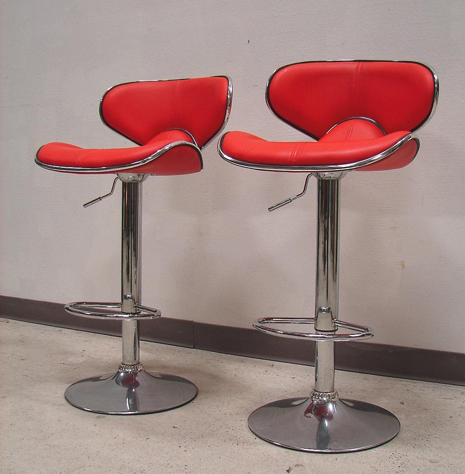 Retro Red Leather Chrome Bar Stool Set 2 Chairish