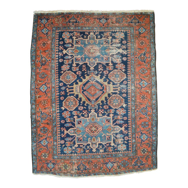 "Antique Persian Heriz Rug - 4'8"" X 6'2"" - Image 1 of 6"