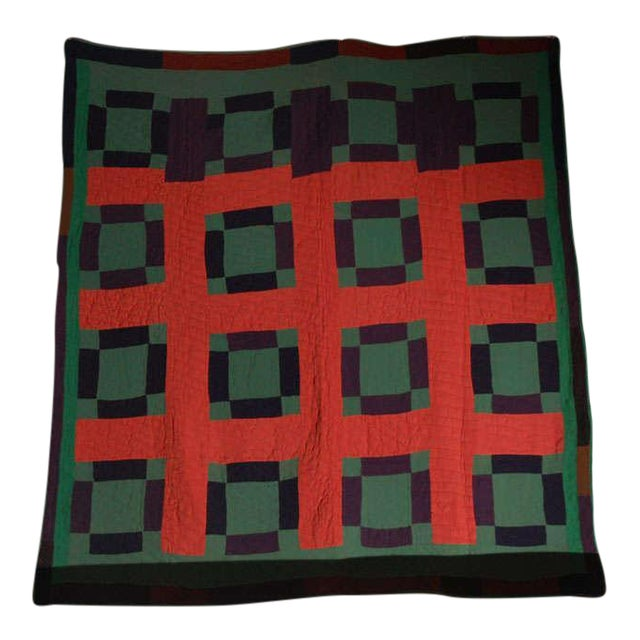 Early 20thc Amish Nine Patch Wool Quilt From Pennsylvania - Image 1 of 9