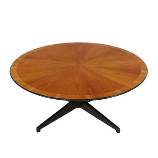 Banded Walnut Top Cross Base Round Coffee Table