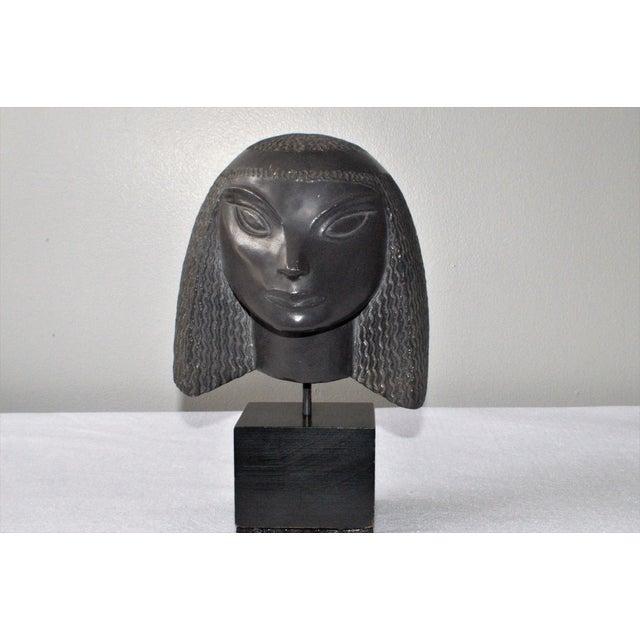 Image of Vintage Fred Press Eygptian Female Sculpture