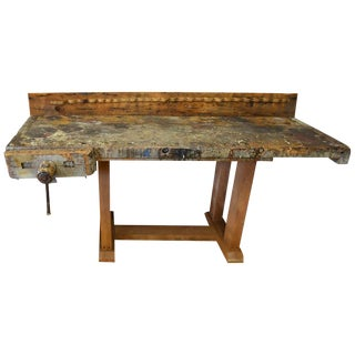 Late 1800s Reclaimed Woodworker's Table Butcher Block