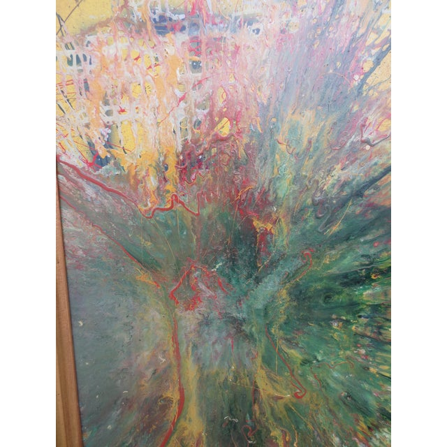 Large Colorful 1960s Abstract Oil - Image 3 of 8