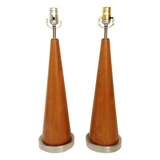 Mid-Century Modern Wood Cone Lamps- A Pair