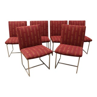 Mid-Century Milo Baughman-Style Chrome Dining Chairs - S/6
