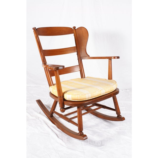 Wing Back Maple Rocking Chair  Chairish