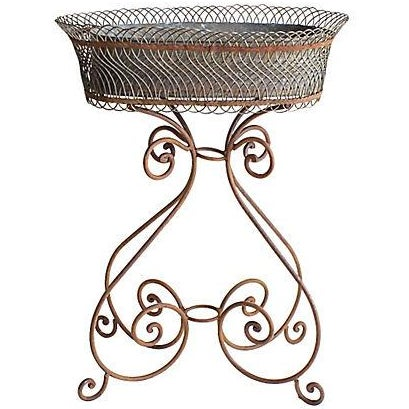 Vintage Wire Flower Box on Iron Stand - Image 1 of 4