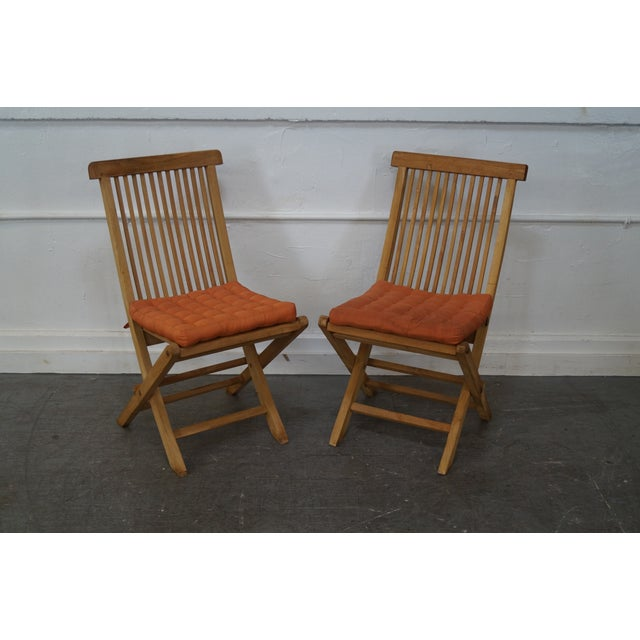 teak folding deck chairs set of 4 chairish. Black Bedroom Furniture Sets. Home Design Ideas