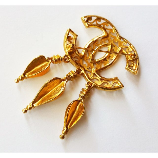 Image of Chanel Textured CC Dangle Brooch