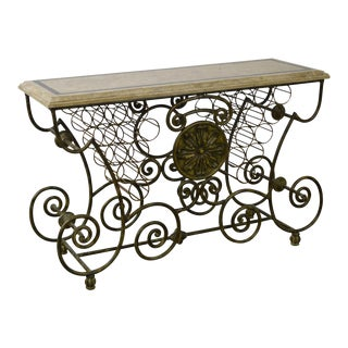 Maitland Smith Scrolled Iron & Bronze Tessellated Top Wine Rack Bakers Table