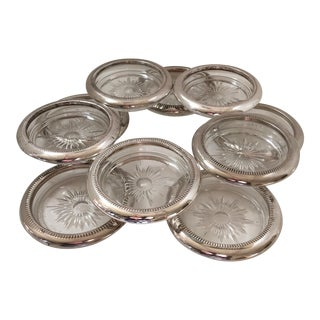 Leonara Silver and Crystal Italian Drink Coasters - Set of 10