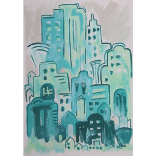 Downtown-Art Deco Painting by Cleo