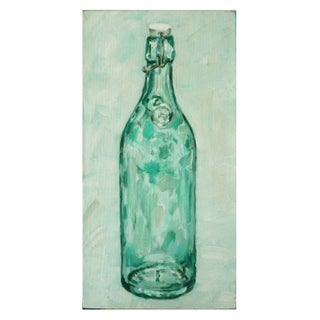 Acrylic Painting of a Green Hinged Bottle