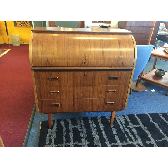 Mid-Century Danish Rosewood Roll-Top Desk - Image 3 of 9