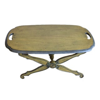 Vintage Stained Wood & Painted Low Tray Top Table