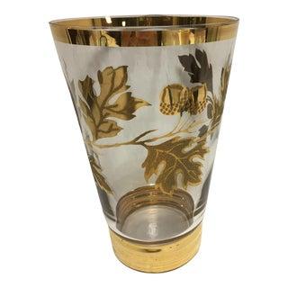 Vintage Gold Oak Leaves & Acorn Vase