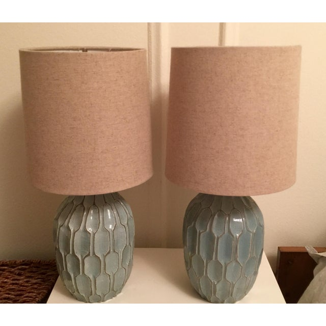 West Elm Handmade Ceramic Lamps - A Pair - Image 2 of 9